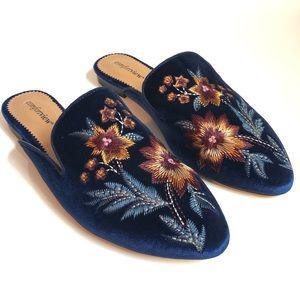 Floral Embroidered Blue Velvet Mule, Size 10.5